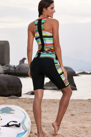 Striped Sleeveless Scoop Tankini