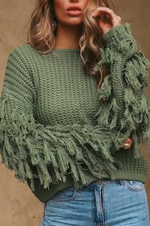 Tasseled Loose Knit Sweater