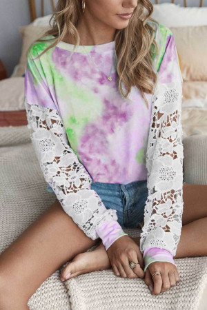 Tie-dye Lace Patchwork Top