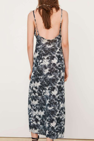 Tie Dye Backless Midi Dress