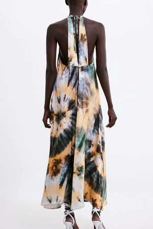 Tie Dye Halter Maxi Dress