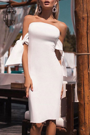 Tie Shoulder Strapless Bodycon Dress