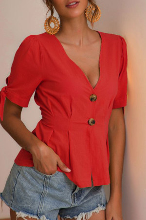 Tie Sleeve Crinched Blouse