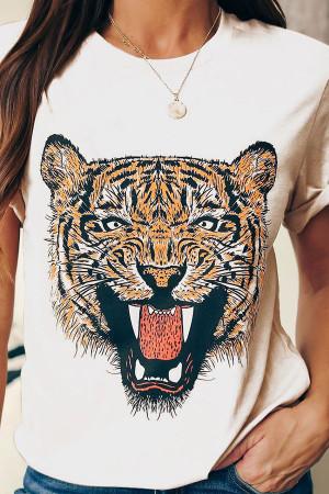 Tiger Print Scoop T-shirt