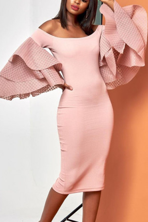 Trumpet Sleeve Bodycon Dress