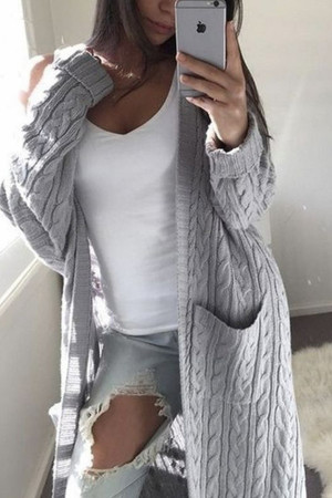 Twist Pockets Sweater Cardigan
