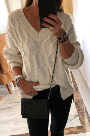 Twist V-neck Split Pullover Sweater