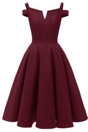 V-cut Off Shoulder Satin Dress