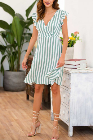 V-Neck Striped A-line Dress