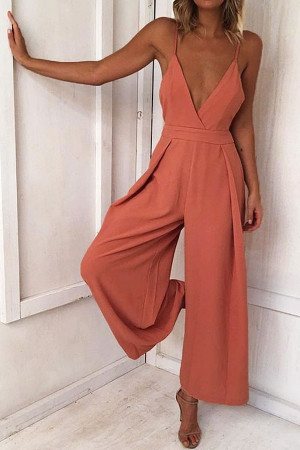 V-Neck Backless Bow Jumpsuit