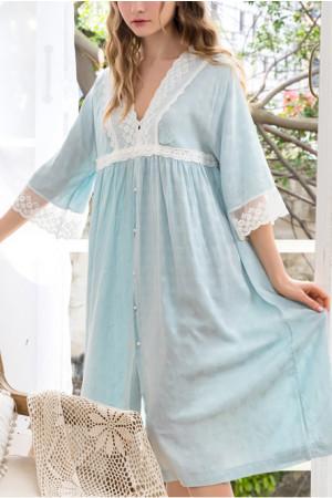 V-neck Buttoned Night Dress