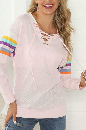 V-Neck Drawstring Loose Sweatshirt