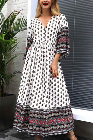 V-Neck Elegant Print Dress