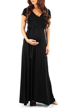 V-neck Lace-up Maternity Long Dress