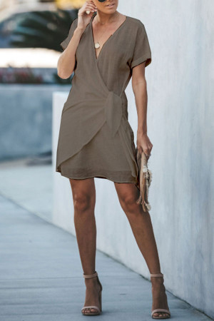 V-neck Lace-up Solid Dress