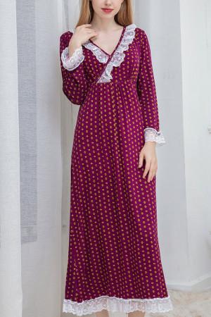 V-Neck Lace Princess Home Dress