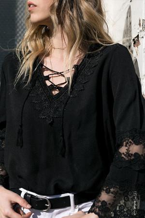 V-Neck Lace Sleeves Blouse