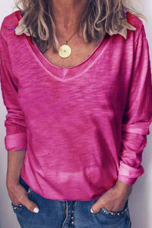 V-neck Long-sleeve Casual T-shirt