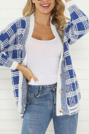 V-neck Plaid Cardigan Sweater