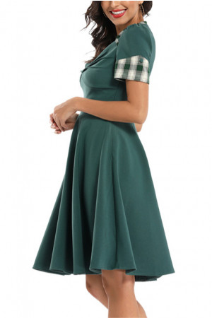 V-neck Plaid Patched  Prom Dress