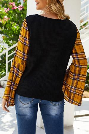 V-Neck Plaid Sleeves Blouse