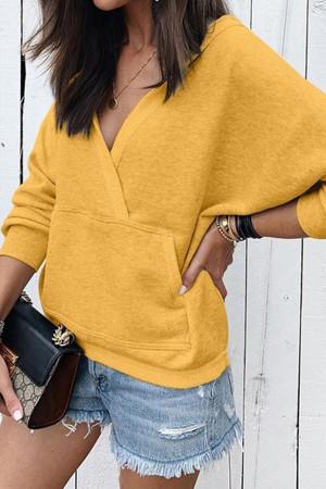 V-neck Pocket Patchwork Sweatshirt