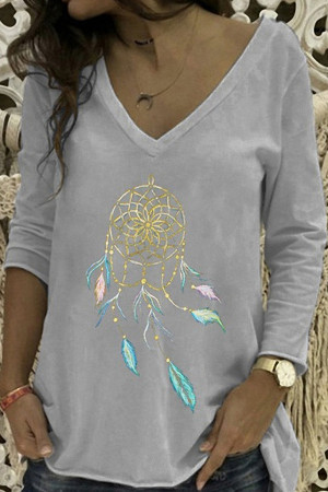 V-neck Printed Loose T-shirt