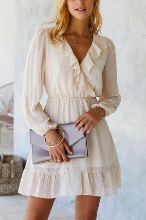 V-Neck Ruffle Chiffon Dress