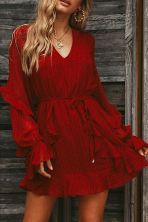 V-Neck Ruffle Sleeves Wrap Dress