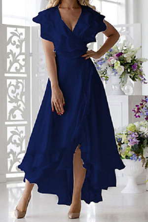 V-neck Ruffled V-neck Long Dress