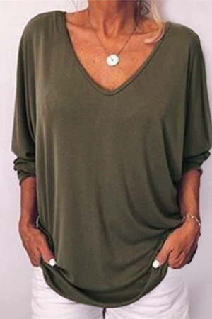 V-neck Solid Buttons Blouse