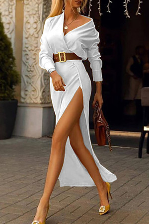 V-Neck Split Dress With Belt