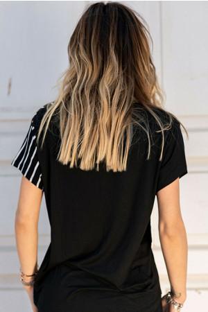 V-Neck Striped Patchwork T-shirt