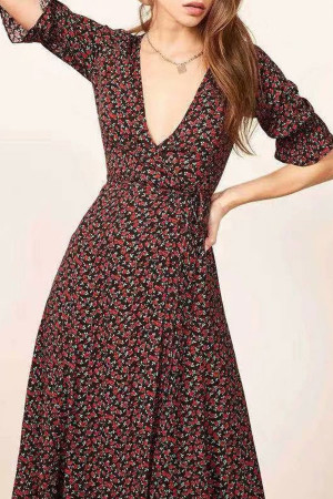 V Neck Lace-up Printed Dress