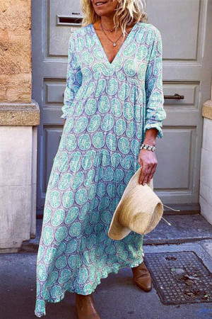 V Neck Printed Maxi Dress