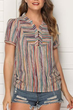 Vintage Color-block Striped Top