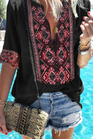Vintage Deep V-neck Blouse
