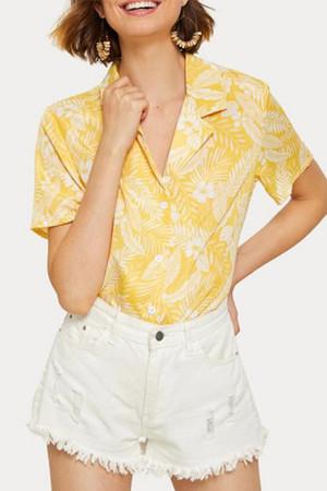 Vintage Print V-neck Shirt