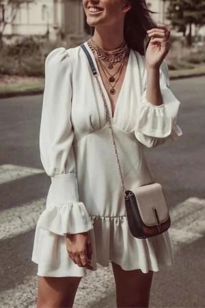 Vintage V-neck Ruffle Dress