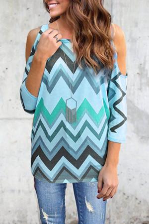 Wavy Stripes Print Blouse