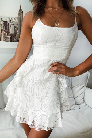 White Sleeveless Ruffle A-line Dress