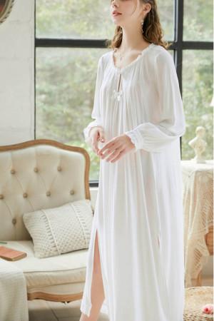 White Bowknot Slit Night Dress
