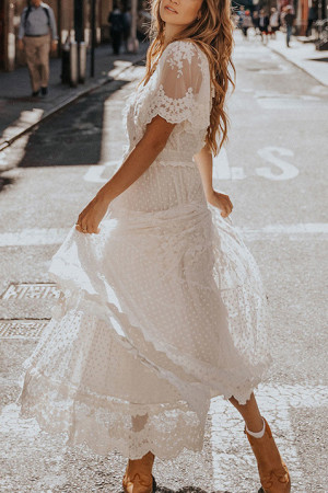 White Lace Vacation Dress