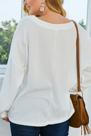 White Loose Knit Sweatshirt