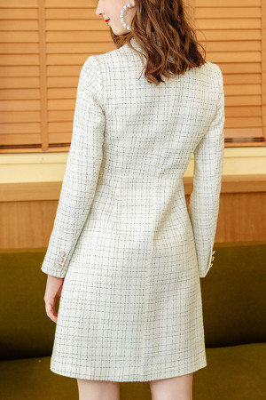 White Plaid Buttoned Dress
