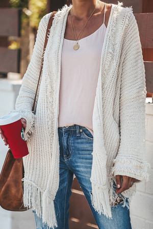 White Tassel Sweater Cardigan