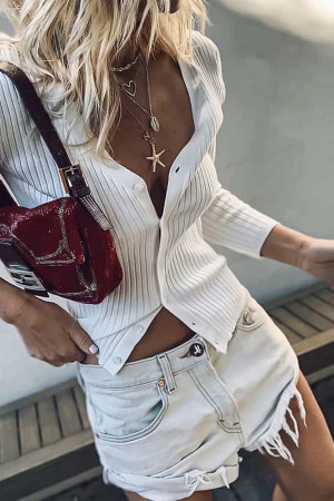 White V-neck Button Cardigan