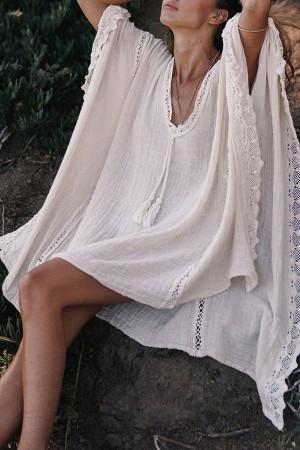 White V-Neck Casual Dress